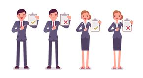 Office workers with clipboards. Men and women in a formal wear. Cartoon vector flat-style illustration vector illustration