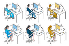 Office Workers with Computer. Color variation man and woman working with Computer Stock Photos