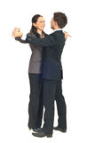 Office workers couple dance waltz Royalty Free Stock Images