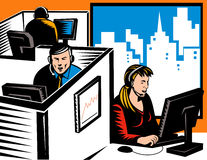 Office workers in cubicles. Vector illustration of Telemarketers at work in a cubicle office