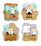 Office workers in different situations Royalty Free Stock Image