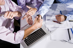Office workers finished with project Royalty Free Stock Photo