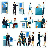 Office Workers Flat Set. With workflow presentation discuss teamwork isolated vector illustration Royalty Free Stock Images