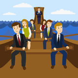 Office workers in the galley vector illustration Royalty Free Stock Image