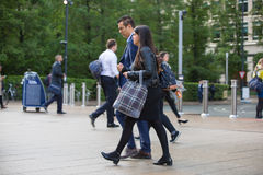 Office workers going to work. London, Canary Wharf Royalty Free Stock Images