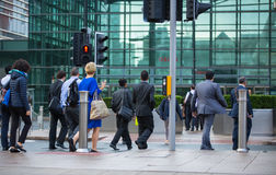 Office workers going to work. London, Canary Wharf Royalty Free Stock Photo