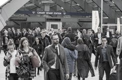 Office workers going to work. London, Canary Wharf Royalty Free Stock Image