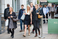 Office workers going to work. London, Canary Wharf Royalty Free Stock Photos