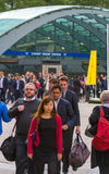 Office workers going at work. Early morning hours in Canary Wharf , London Stock Photo