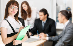 Office workers having a discussion Stock Images