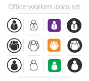Office workers icons set Royalty Free Stock Photos