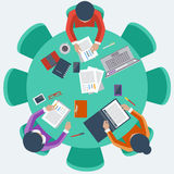 Office workers on meeting and brainstorming. Office teamwork workers business management meeting and brainstorming on round table in top view flat design cartoon stock illustration