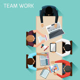 Office workers on meeting and brainstorming. Office teamwork workers business management meeting and brainstorming on square table in top view flat design vector illustration