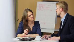 Office workers meeting discuss blond man woman search solution. Stock footage stock footage
