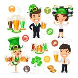Office Workers on the Patricks Day Party Stock Image
