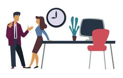 Office workers professional relationships man and woman discussion. Professional relationships office workers man and woman discussion vector workplace desk and stock illustration