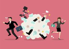 Office workers scuffling at work. Vector illustration Stock Photo
