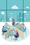 Office Workers Sitting and City Royalty Free Stock Photo