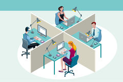 Office Workers Sitting at Their Desks Royalty Free Stock Photos