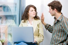 Office workers talking Royalty Free Stock Photo
