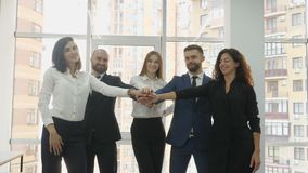 Office workers, three young women and two young men lined up in a semi-circle standing near the panoramic office window. And fold their hands at each other and stock video