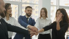 Office workers, three young women and two young men lined up in a semi-circle standing near the panoramic window of the. Office and came to an agreement and stock footage