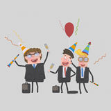 Office workers  toasting with champagne. 3d Royalty Free Stock Images