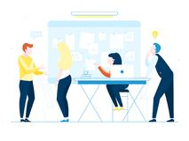 Office workers on white background. Co working people discussing ideas. Vector illustration of business meeting, teamwork, collabo. Ration and discussion Stock Photos