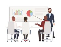 Office workers at whiteboard meeting. Bearded man making presentation in front of audience. Cute cartoon characters. Isolated on white background. Colored vector illustration