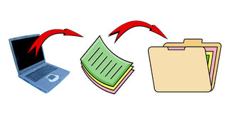 Office workflow. A typical office workflow stock illustration