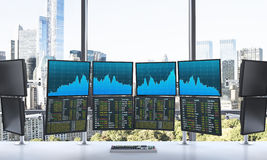 Office with 24 working monitors, processing data, trading, new y Royalty Free Stock Photography