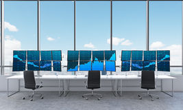 Office with 24 working monitors, processing data, trading, new y Stock Photography