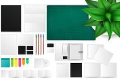 Office and working space mockup icon with many objects Royalty Free Stock Image