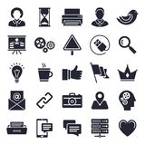 Office and Working Icon Set. Office and working theme, black and white icons Stock Images
