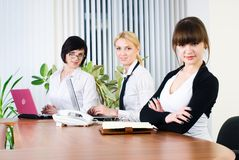 Office working of young business ladies Royalty Free Stock Images