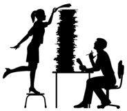Office workload silhouette. Editable vector silhouette of a secretary adding to the excessive work pile of an office worker with figures as separate objects stock illustration