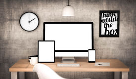 Office workplace with blank devices collection Royalty Free Stock Photography