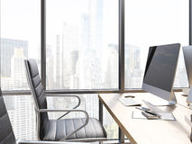 Office workplace with blank monitor Royalty Free Stock Images