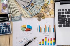 Business chart, laptop, pen, dollar and calculator. Office workplace - business chart, laptop, pen, dollar and calculator Royalty Free Stock Images