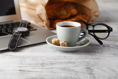 Office workplace with coffee break time Royalty Free Stock Photography