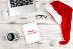 Office Workplace Coffee and Christmas Decoration. Business Holid Royalty Free Stock Images