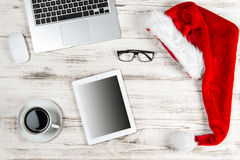 Office Workplace Coffee and Christmas Decoration. Business Holid Royalty Free Stock Photo