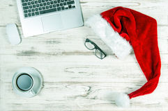 Office Workplace with Coffee and Christmas Decoration vintage Stock Photo