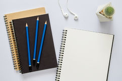 Office workplace concept. Notebook, cactus, earphone and pencil stock photos