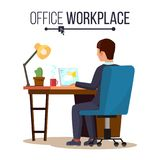 Office Workplace Concept Vector. Business Man Or Clerk Working At Office Desk. Flat Style Color Modern Vector.  Stock Image
