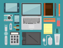 Office workplace Essential. Eps10 vector format Royalty Free Stock Image