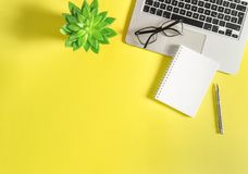 Office workplace flat lay Laptop notebook green succulent yellow. Office workplace flat lay. Laptop, notebook, green succulent plant on yellow background stock image