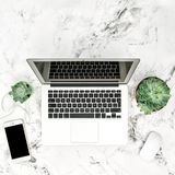 Office workplace flat lay Laptop succulent plants phone. Office workplace flat lay. Laptop, succulent plants, phone on marble background stock photography