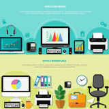 Office Workplace Horizontal Banners. Office workplace for network horizontal banners with computers peripherals and elements of interior flat vector illustration Royalty Free Stock Photos