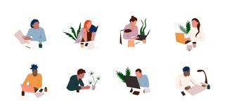 Office workplace icon set. royalty free illustration